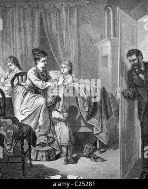 Family getting their children to bed, historic illustration, 1877 - Stock Photo