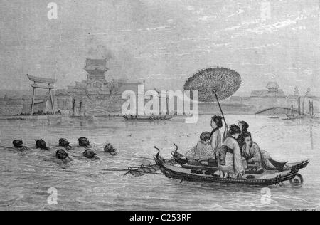 Japanese ferry, Japan, historic illustration, 1877 - Stock Photo