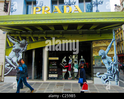 Paris, France, Prada Store, Luxury Fashion Brands, Clothing Shop Window Front (Temporary Store, on Rue St Honore) - Stock Photo