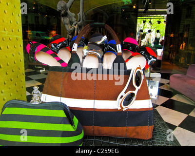 Paris, France, Detail, Prada Store Products, Shop Front Window Display, Women's Fashion Accessories, Luxury Shoes, - Stock Photo
