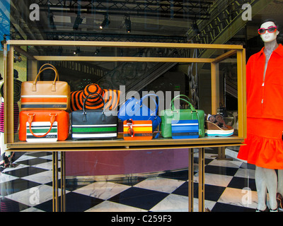 Paris, France, Prada Store, Women's Luxury Product Display, Famous Fashion Brands, Handbags on Display in Shop Front - Stock Photo
