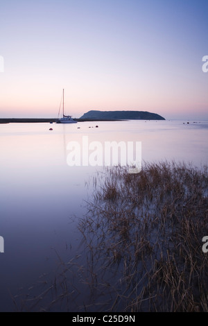 River Axe Estuary with Brean Down in the distance. Somerset. England. UK. - Stock Photo