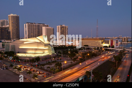 Traffic surrounding the Adrienne Arsht Center for the Performing Arts in Miami, Florida, USA - Stock Photo