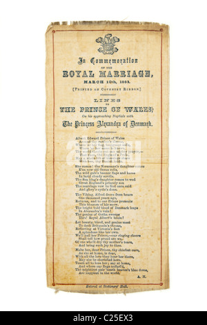 Antique bookmark commemorating the Royal Marriage in 1863 - Stock Photo