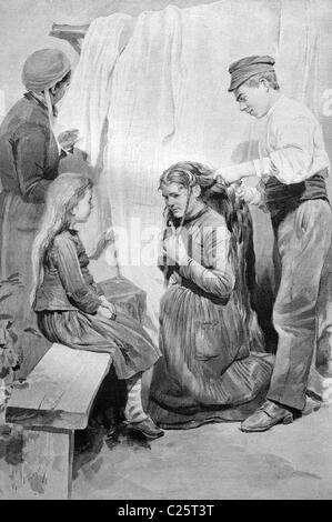 Hair buyer in France, historical illustration circa 1893 - Stock Photo