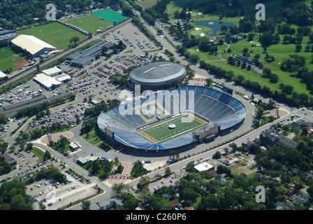 Aerial view of Football stadium at the University of Michigan at Ann Arbor Michigan USA - Stock Photo