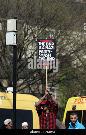 Flags and Banners at The English Defence League Demonstration and Muslims against Racism Rally, Blackburn, April, - Stock Photo