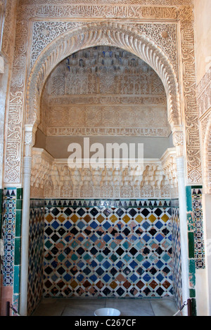Alhambra Palace, Granada, Andalucia,Spain. Ornate alcove in The Court of the Myrtles or Patio de los Arrayanes. - Stock Photo