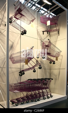 Shopping carts, for supermarkets, shops. Trade show for shop design and merchandising. - Stock Photo