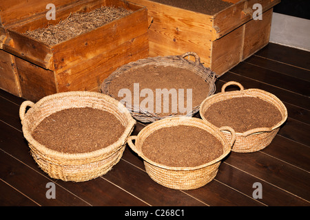 Tobacco leaves ground and graded for use in making cigars and cigarettes Museu del Tabac tobacco museum  Andorra - Stock Photo