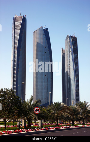 Etihad Towers, office and hotel building, city center of Abu Dhabi, capital of United Arab Emirates. - Stock Photo