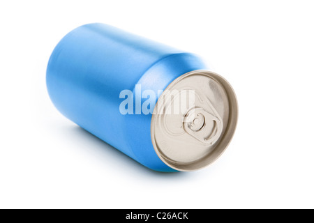 blue blank soda can with white background - Stock Photo