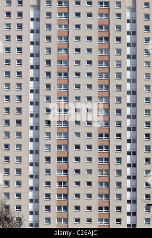 Detail of a housing tower block in Glasgow, Scotland, UK - Stock Photo