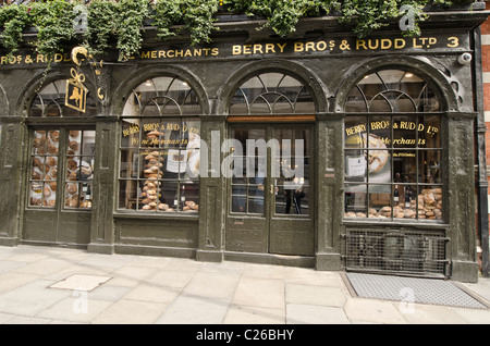 Shop front exterior Berry Brothers and Rudd Wine merchants St James's Street, Westminster, London Uk - Stock Photo