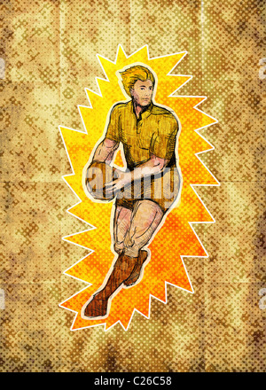 illustration of a Rugby player running passing ball with grunge texture in the background - Stock Photo