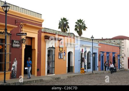 Colonial Style Street In Oaxaca City Mexico - Stock Photo