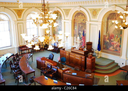 The Senate Chamber of the New Hampshire State House. - Stock Photo