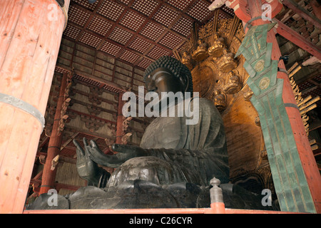 Daibutsu (Great Buddha) in Daibutsu-den (Hall of the Great Buddha), Todai-ji temple. - Stock Photo