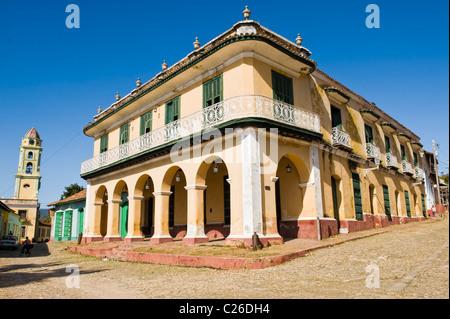 Museo romantico and Tower of the Convento de San Francisco de Asis, Trinidad, Sancti Spiritus Province, Cuba - Stock Photo