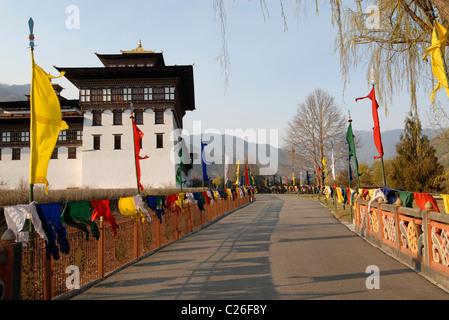 Entrance to Trashi Chhoe Dzong, Thimphu, Bhutan - Stock Photo