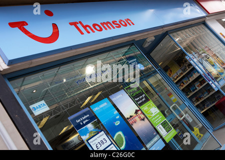 THOMSON, the high street holiday package specialists and travel agent,their logo and company name viewed here at - Stock Photo