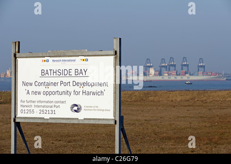 Bathside Bay (across the river from Felixstowe) where a new container terminal has planning permission, Harwich, - Stock Photo