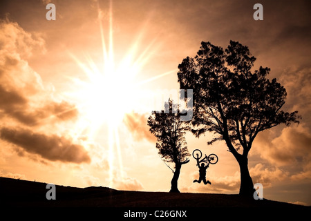 Happy rider holding bicycle and jumping on the hill - Stock Photo