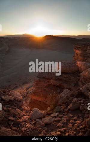 Sunset over the rocks in Valley of the Moon, Atacama Desert, San Pedro, Chile, South America. - Stock Photo