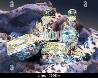 Glass jars decorated on a blanket - Stock Photo