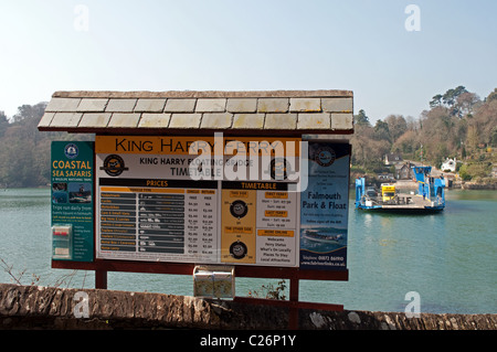 The tariff board at the King Harry ferry service on the river Fal near Truro in Cornwall, UK - Stock Photo