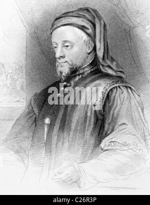 Geoffrey Chaucer (1343-1400) on engraving from 1838. English author, poet, philosopher, bureaucrat, courtier and - Stock Photo
