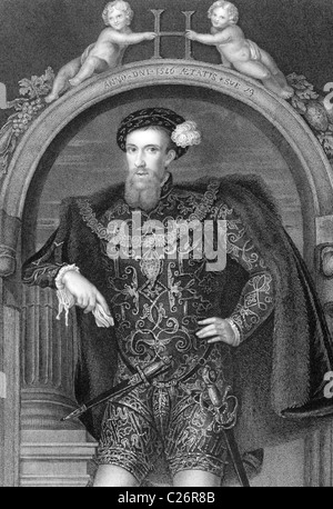 Henry Howard, Earl of Surrey, KG, Earl Marshal (1517-1547) on engraving from 1838. English aristocrat. - Stock Photo