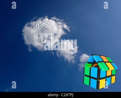 Close up of a model home with Sky Background, Concept - Stock Photo