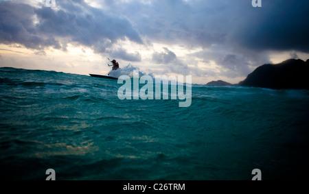 Kiteboarding Waimanalo @ Sunrise - Stock Photo