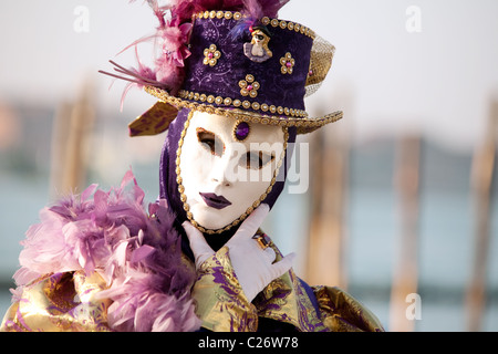 Character in costume, the Carnival, Venice, Italy - Stock Photo