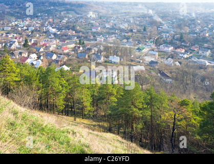 Spring view of Kremenets town from fortress ruins (Ternopil Oblast, Ukraine). - Stock Photo