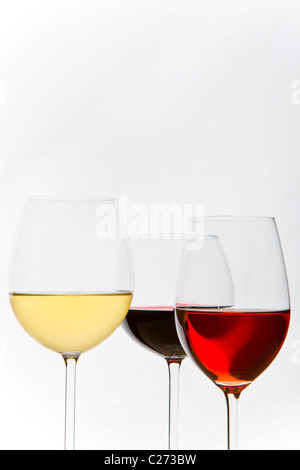 Glasses of White, Red and Rose Wines