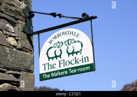 Sign for the Flock-in walkers Tea-room at Yew Tree Farm, Rosthwaite, Borrowdale, Lake District - Stock Photo
