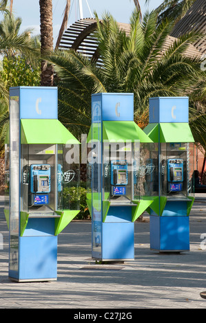Payphones on the street in Puerto de Alcudia, Mallorca, Spain - Stock Photo