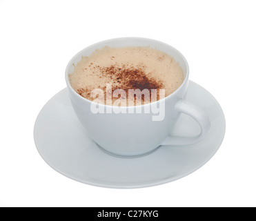 A cup of frothy coffee in a white cup and saucer isolated against a white background - Stock Photo