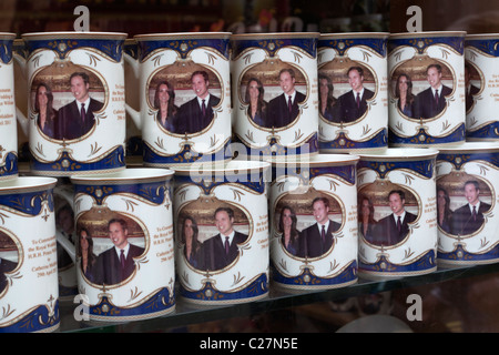 Souvenir mugs for the Royal wedding between Prince William and Kate Middleton - Stock Photo