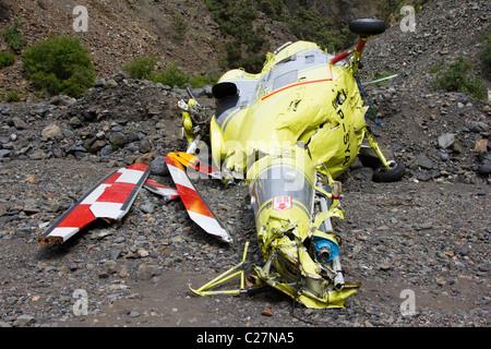helicopter crash wreckage gorge El Caldera de Taburiente National Park La Palma Canary island Spain - Stock Photo