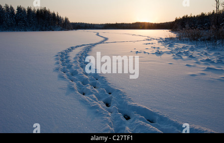 Human trail on snow covered lake ice , Finland - Stock Photo