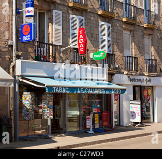 Tabac store on the main street in Pontivy, Morbihan, Brittany, France, Europe - Stock Photo