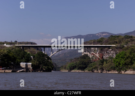 Bridge over Grijalva river at the Sumidero Canyon in Chiapa de Corzo, Chiapas, Mexico - Stock Photo