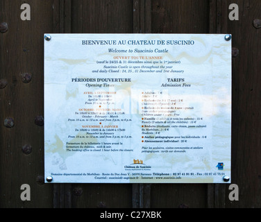 Opening times and admission info plaque, Château de Suscinio, Morbihan, Brittany, France, Europe - Stock Photo