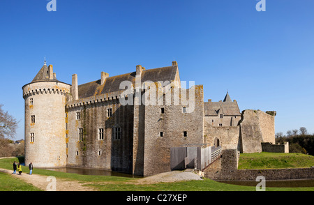 Chateau de Suscinio, medieval castle with moat on the Presqu'ile de Rhuys peninsula in Morbihan, Brittany, France, - Stock Photo