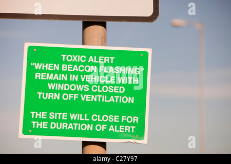 A sign outside an incinerator at Billingham on Teeside, - Stock Photo