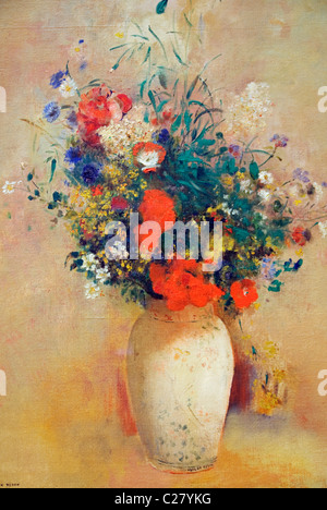 Detail: Vase of Flowers, (Pink Background), ca. 1906, by Odilon Redon, - Stock Photo