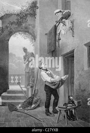 Cobbler, historical illustration, ca. 1893 - Stock Photo